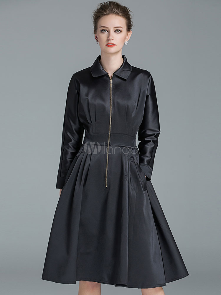 Buy Black Party Dress Women Long Sleeve Turndown Collar Zipper A Line Swing Dresses for $75.99 in Milanoo store
