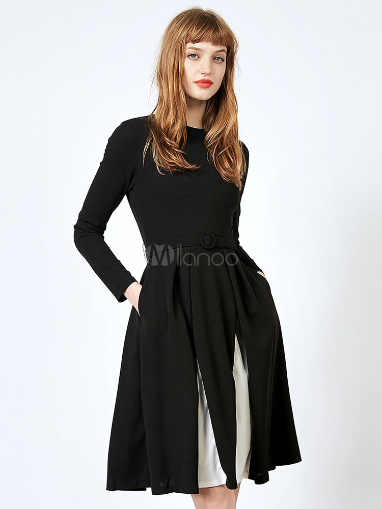 Buy Black Skater Dress Long Sleeve Round Neck Two Tone Pleated A Line Swing Vintage Dresses For Women for $52.24 in Milanoo store