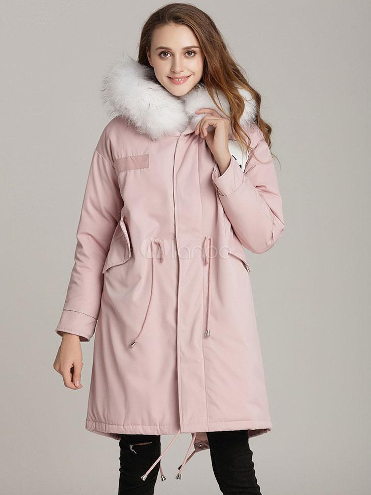 Women Parka Jacket Faux Fur Hooded Long Sleeve Soft Pink Winter Coat