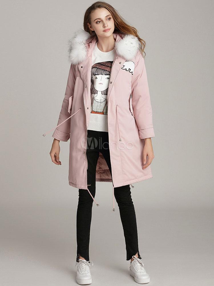 ... Women Parka Jacket Faux Fur Hooded Long Sleeve Soft Pink Winter Coat -No.5 a7acc6bb17