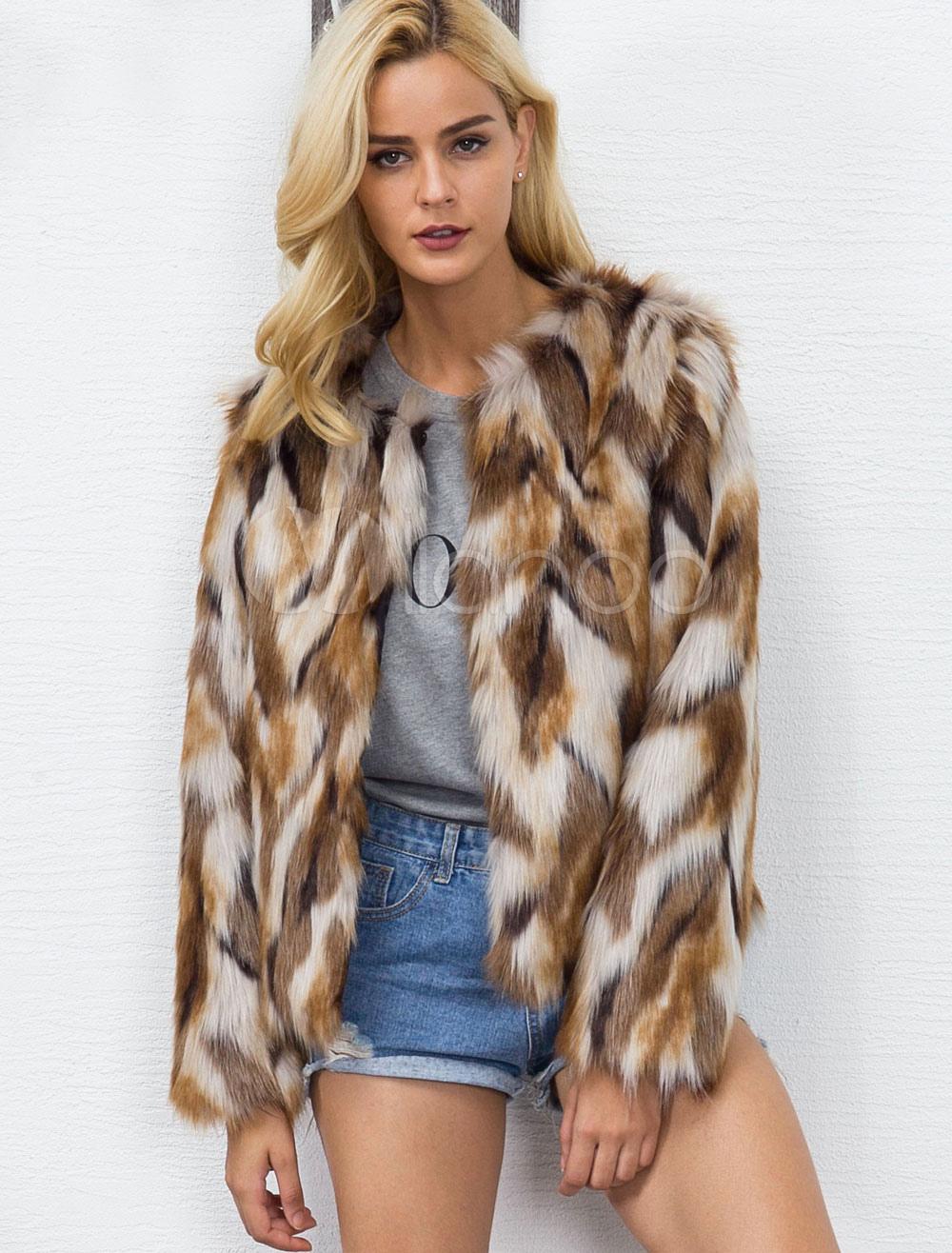 14ab43873 Multicolor Faux Fur Coat Long Sleeve Round Neck Color Block Brown Winter  Coat For Women- ...