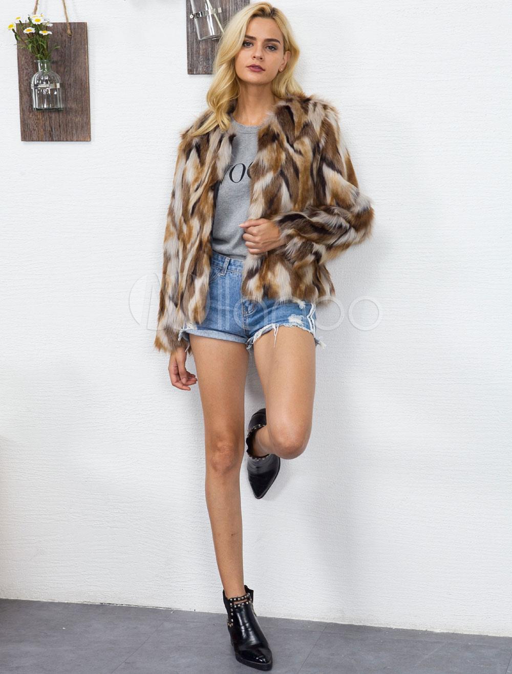 8e6c385f1 ... Multicolor Faux Fur Coat Long Sleeve Round Neck Color Block Brown Winter  Coat For Women- ...