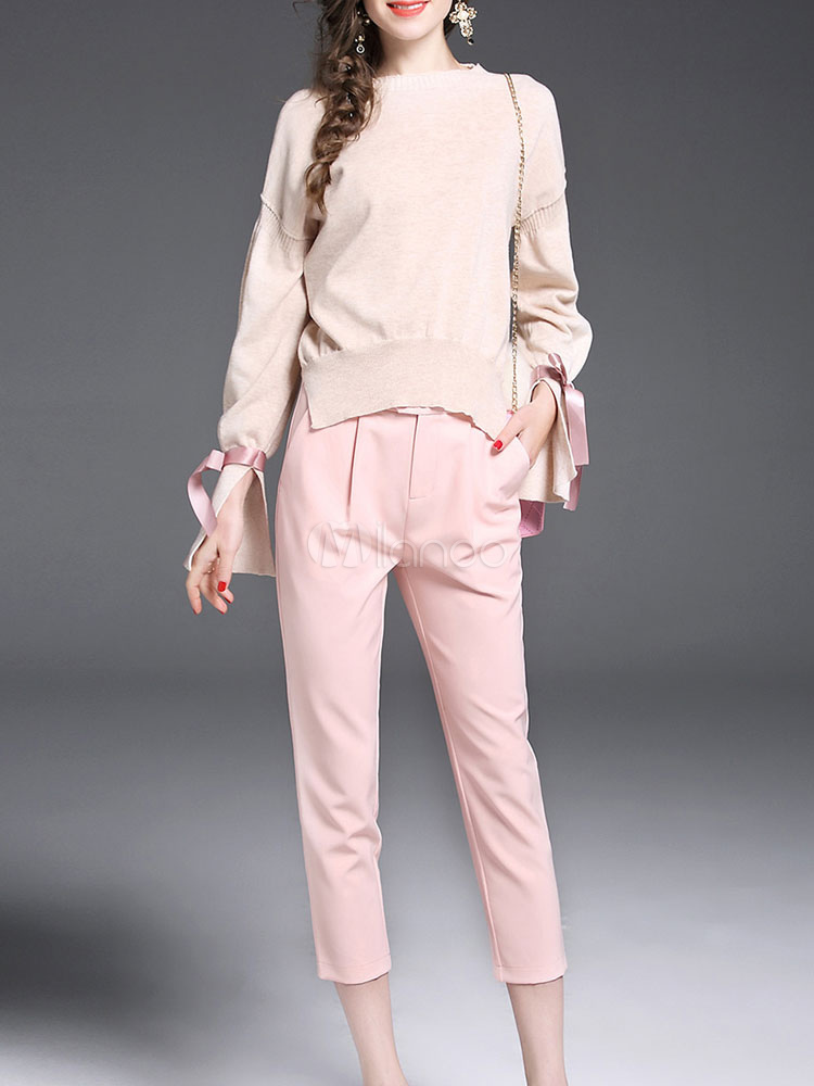 Pink Pants Set Women's Round Neck Long Sleeve Bows Split Sweater With Pants