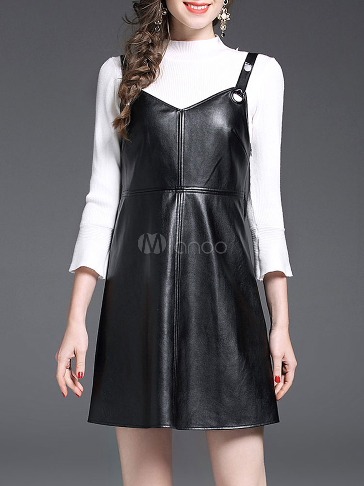 Buy Black Dress Set Women's Round Neck Bell Sleeve Sweater With PU Jumper Skirt for $41.39 in Milanoo store