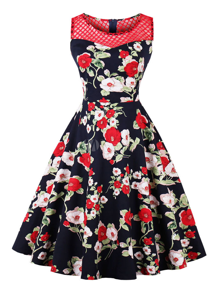 fe2388519d0 Women Vintage Dress 1950s Dress Floral Print Dark Navy Swing Dresses-No.1  ...
