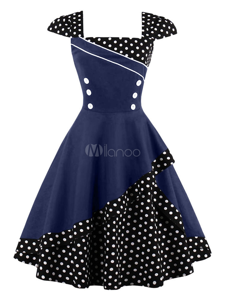 Women Vintage Dress Black Polka Dot Button 1950s Retro Summer Dress