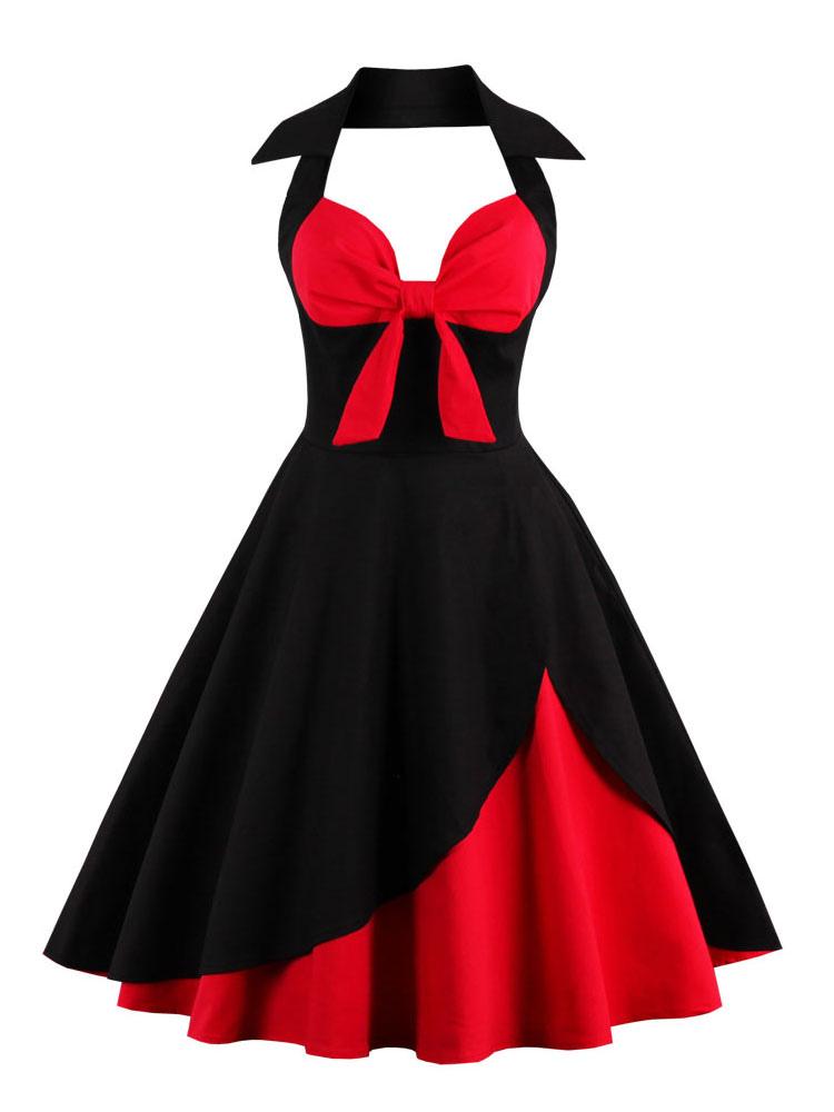 Women Vintage Dress Halter Two Tone Bow Tie Retro Rockabilly Dress