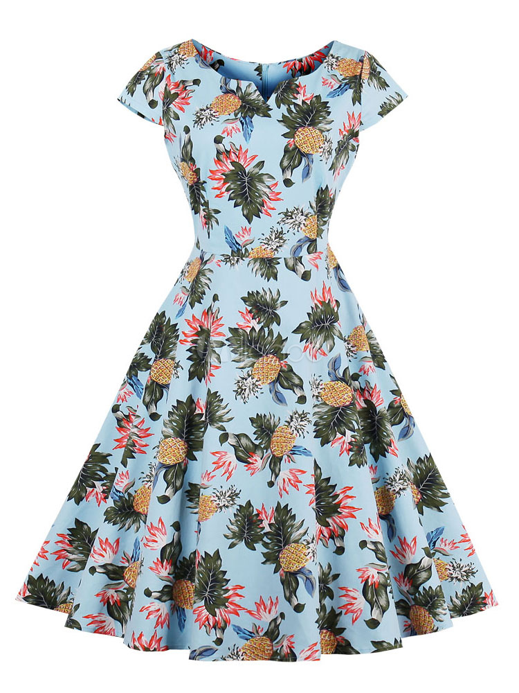 Buy Vintage Dress Women 1950s Printed Short Sleeve Retro Summer Dress for $22.49 in Milanoo store