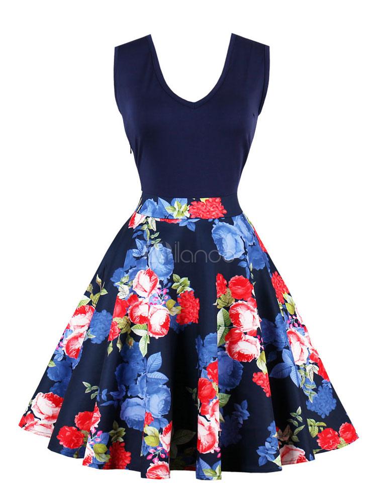 Women Vintage Dress Floral V Neck Sleeveless 1950s Retro Summer Dress