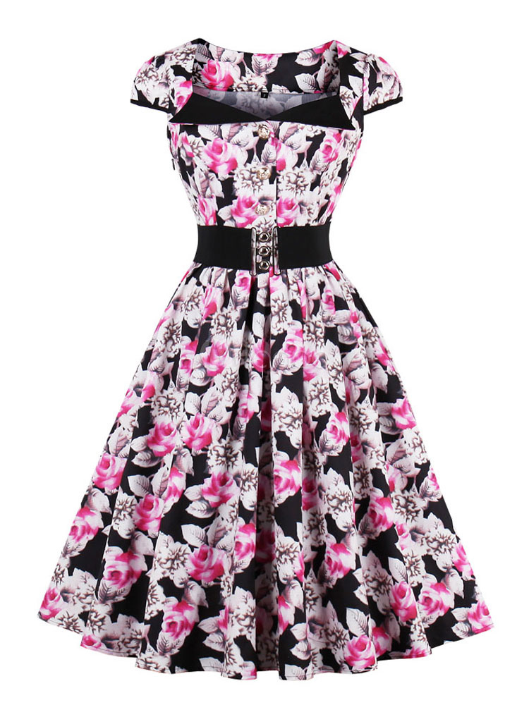 Buy Women Vintage Dress 1950s Cap Sleeve Sash Retro Floral Dress for $26.99 in Milanoo store
