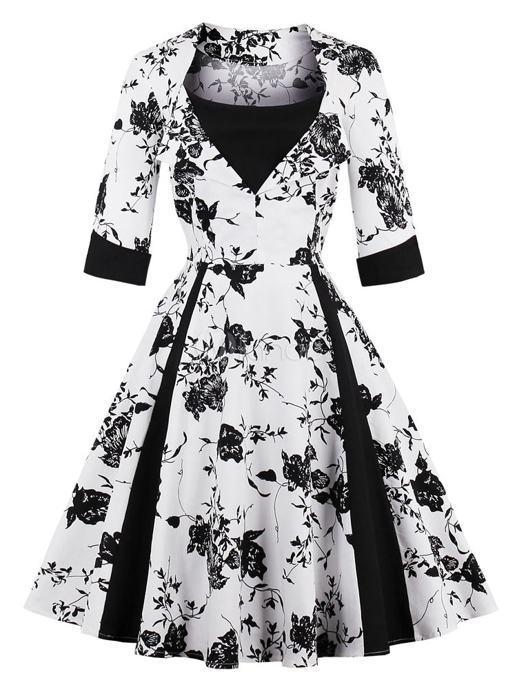 Floral Vintage Dress 1950s Long Sleeve Swing Dress For Women