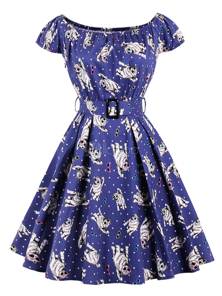 Buy Women Skater Dresses Vintage 1950s Square Neck Short Sleeve Cat Print Blue Swing Dress for $22.49 in Milanoo store