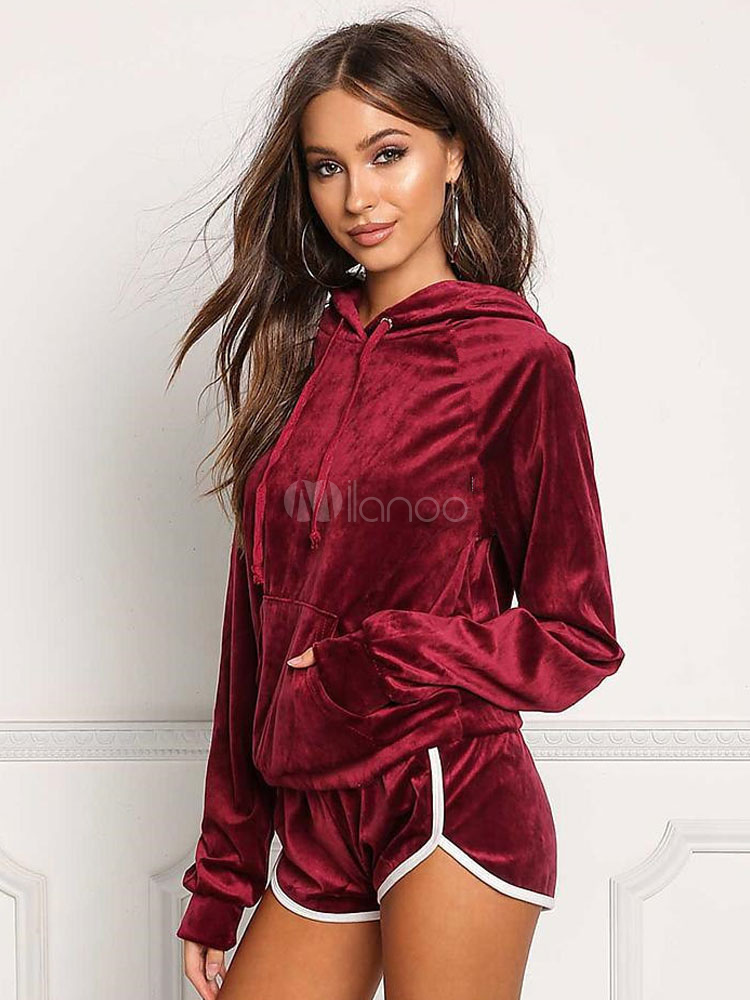 Women Velour Tracksuit Burgundy Long Sleeve Hoodie With Shorts