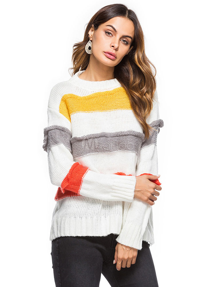 Buy Women White Sweater Long Sleeve Round Neck Striped Knit Top for $35.99 in Milanoo store