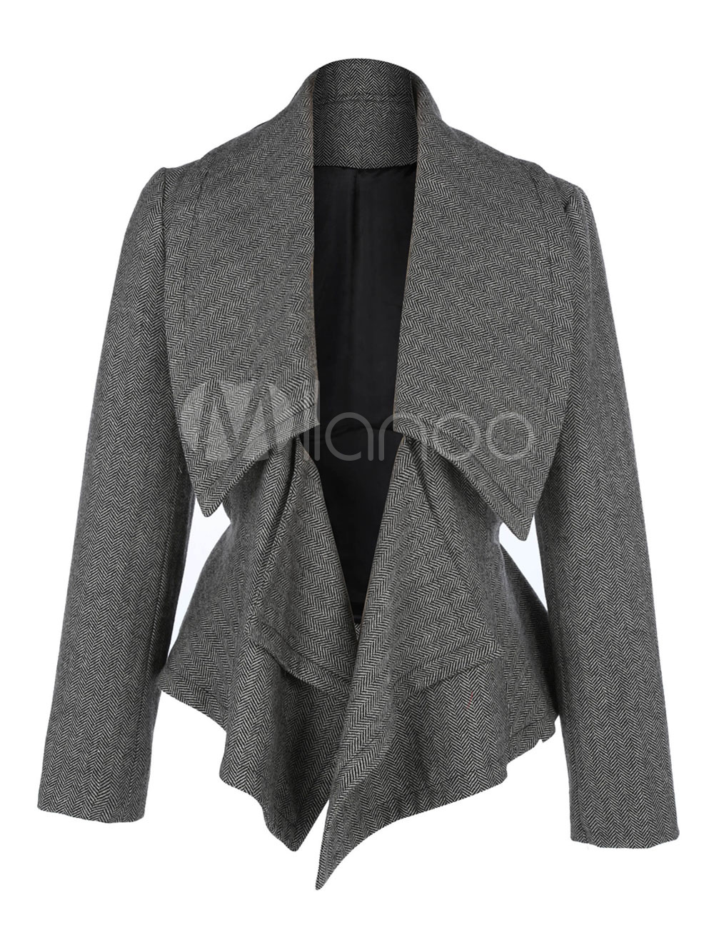Women Blazer Jacket Grey Long Sleeve Turndown Collar Short Tweed Coat Cheap clothes, free shipping worldwide
