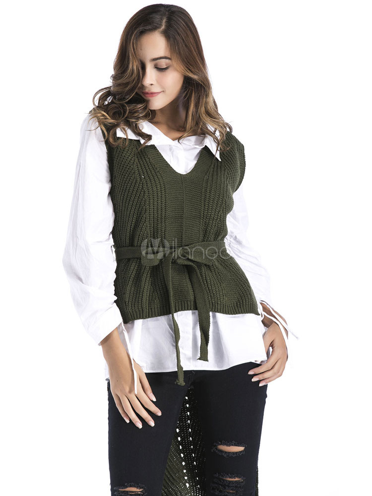 Buy Women Sweater Vest V Neck Sleeveless Split High Low Knit Top for $26.99 in Milanoo store