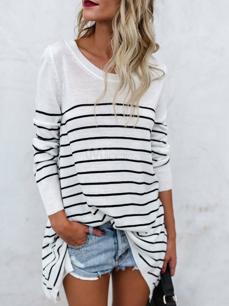 White Sweater Women Long Sleeve Round Neck Striped Knit Top