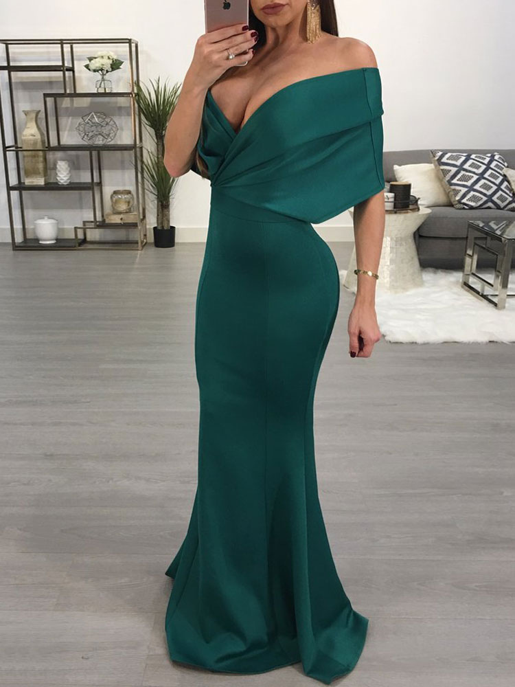 Buy Satin Maxi Dress Off The Shoulder Half Sleeve Backless Green Mermaid Long Dress for $35.99 in Milanoo store