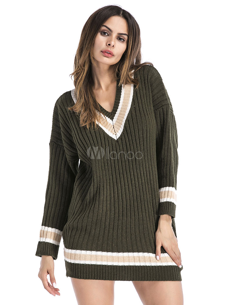34a3864c9a7 Knit Sweater Dress Hunter Green V Neck Long Sleeve Striped Women Shift Dress -No.