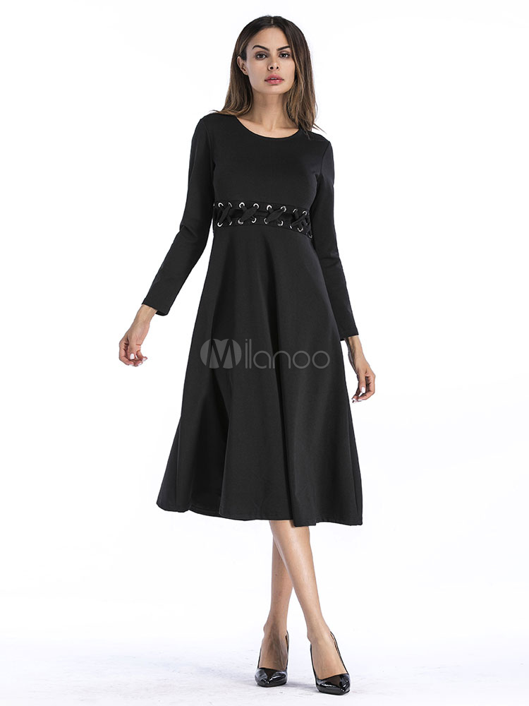 Buy Black Skater Dress Long Sleeve Criss Cross Pleated Cotton Women Spring Dress for $31.49 in Milanoo store