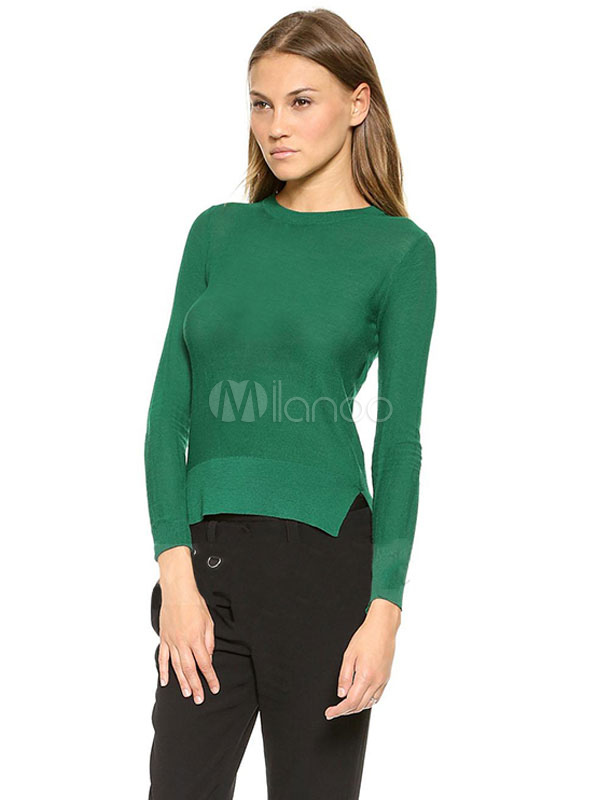 Buy Knit Sweater Women Long Sleeve Round Neck Split Backless Green Top for $13.49 in Milanoo store
