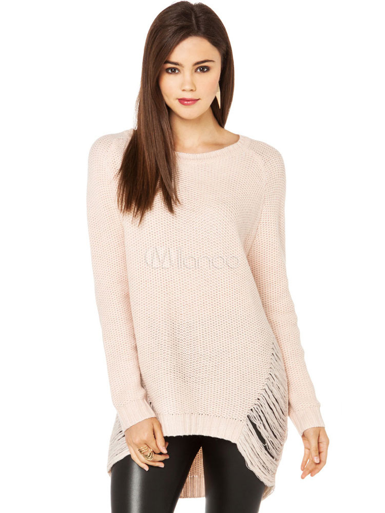 Women Pullover Sweater Round Neck Long Sleeve High Low Soft Pink Knit Top