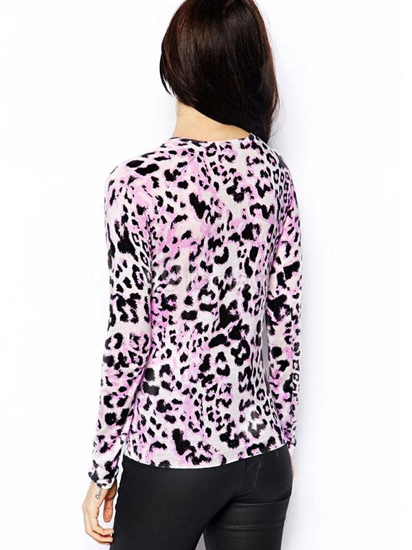 Pink Women Sweater Long Sleeve Knit Sweater Leopard Print