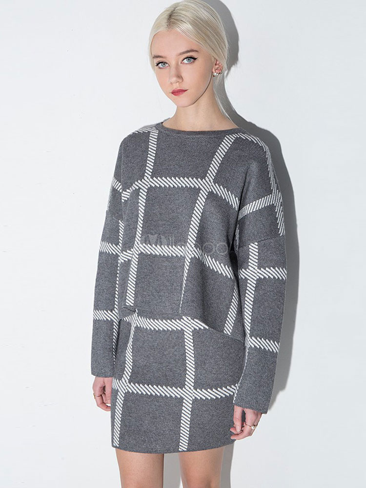 Women Grey Sweater Oversized Plaid Pullover For Women