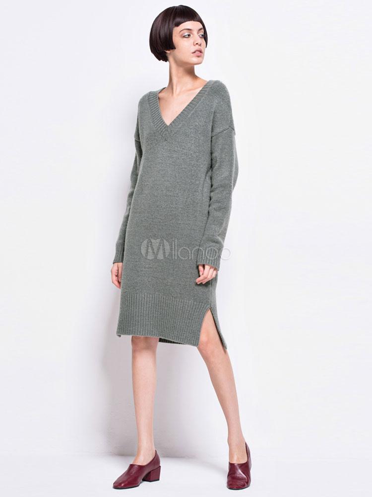 Buy Knit Sweater Dress Grey V Neck Long Sleeve Split Shift Dress For Women for $23.39 in Milanoo store