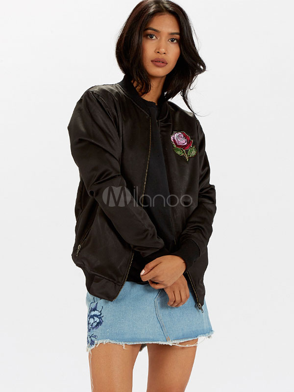 Buy Black Bomber Jacket Long Sleeve Stand Collar Rose Embroidered Women Jacket for $44.99 in Milanoo store
