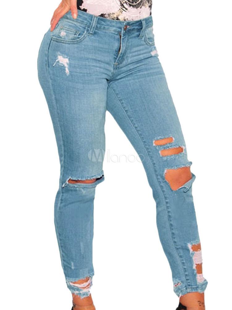 5cdafa0da22cc بنطلون جينز ضيق بنطلون جينز ضيق باللون الأزرق - Milanoo.com