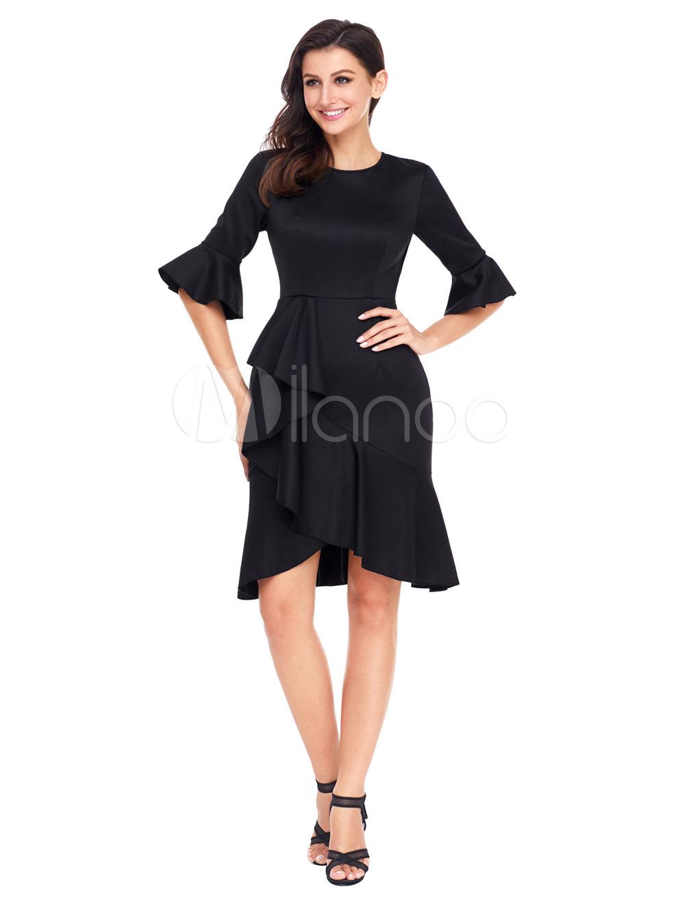 Black Bodycon Dresses Bell Sleeve Crew Neck Ruffles Asymmetrical Women Dress