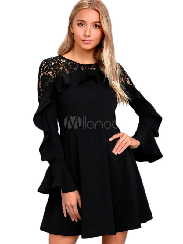 Buy Lace Skater Dress Black Bell Sleeve Round Neck Ruffles Short Dress For Women for $35.99 in Milanoo store