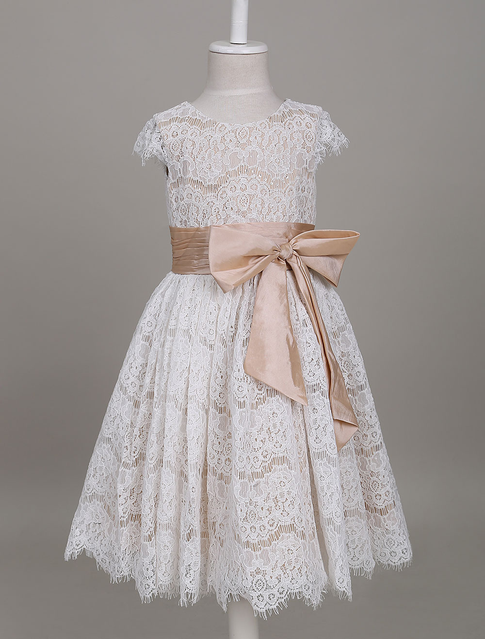 Flower Girl Dresses Lace Champagne Short Sleeve Bow Sash A Line Formal Party Dress For Girls