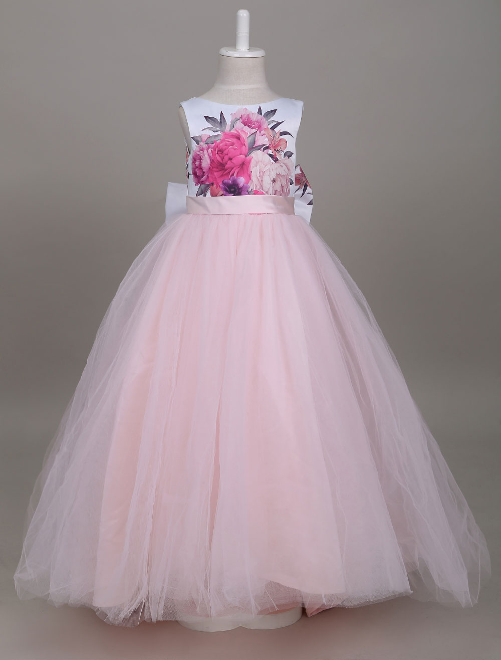 Princess Flower Girl Dresses Tulle Soft Pink Kids Pageant Dress Printed Bow Long Party Dress With Train