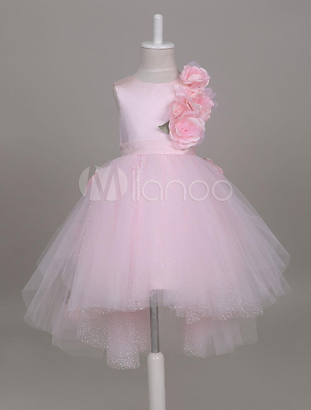 2a46b2f0e Vestidos de niña de las flores Vestido de tutú rosado suave Vestido de  fiesta corto de niños asimétrico
