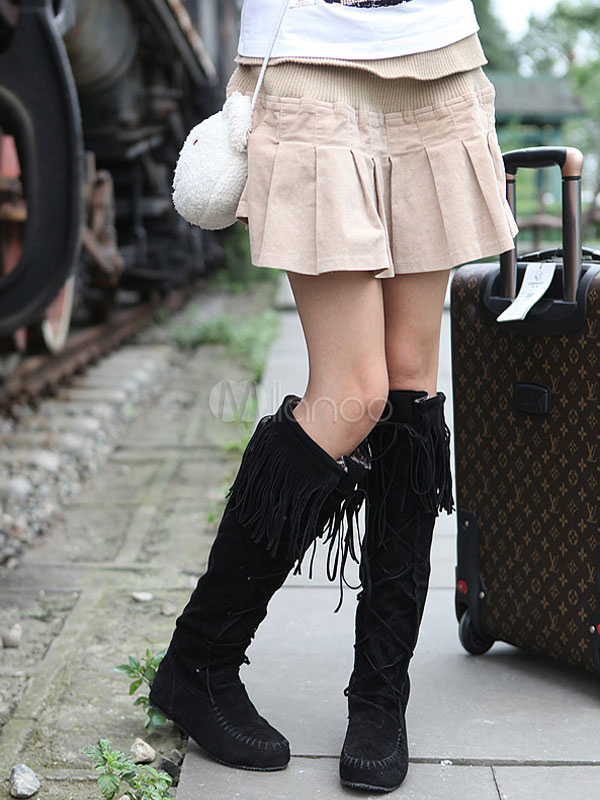 Buy Black Suede Boots Women Knee High Boots Round Toe Lace Up Boots With Tassels for $40.49 in Milanoo store