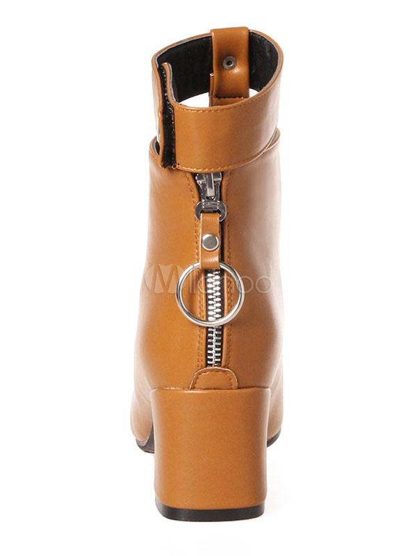 Metall Detail Braune Booties Runde Stiefel Stiefeletten Zehe Damen Reißverschluss e92WIDEbHY