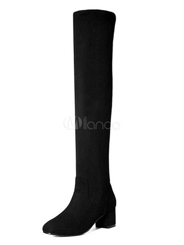Buy Black Over Knee Boots Suede Round Toe Thigh High Boots Women Winter Boots for $29.69 in Milanoo store