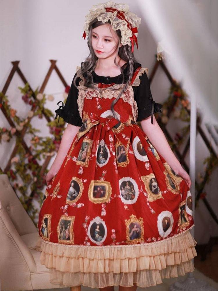 Buy Classic Lolita JSK Jumper Skirt Neverland Chiffon Sleeveless Bows Ruffles Pleated Printed Burgundy Lolita Dresses for $59.79 in Milanoo store