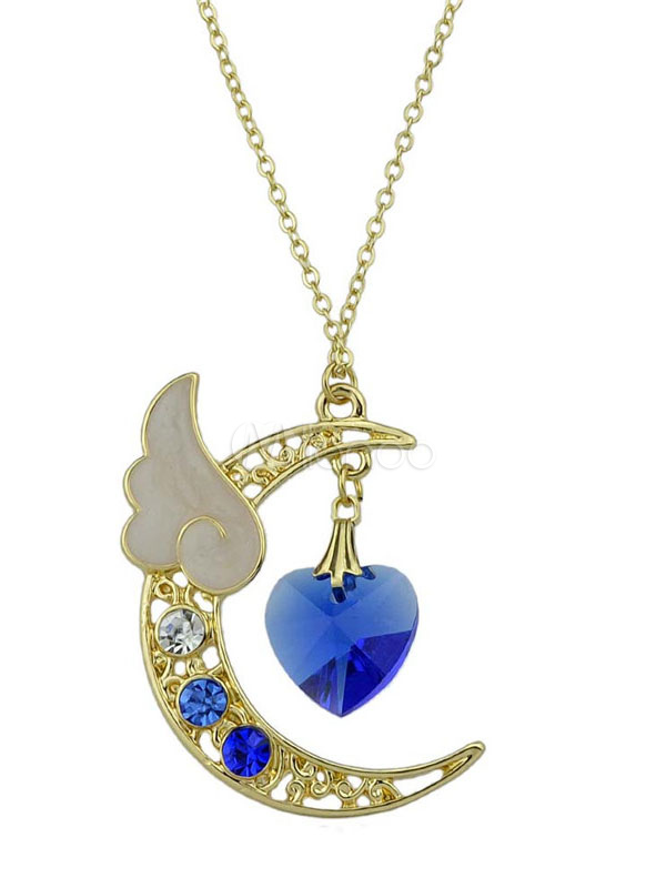 Buy Blue Pendant Necklace Sweetheart Gems Rhinestones Angle Wing Design Women's New Moon Necklace for $2.39 in Milanoo store