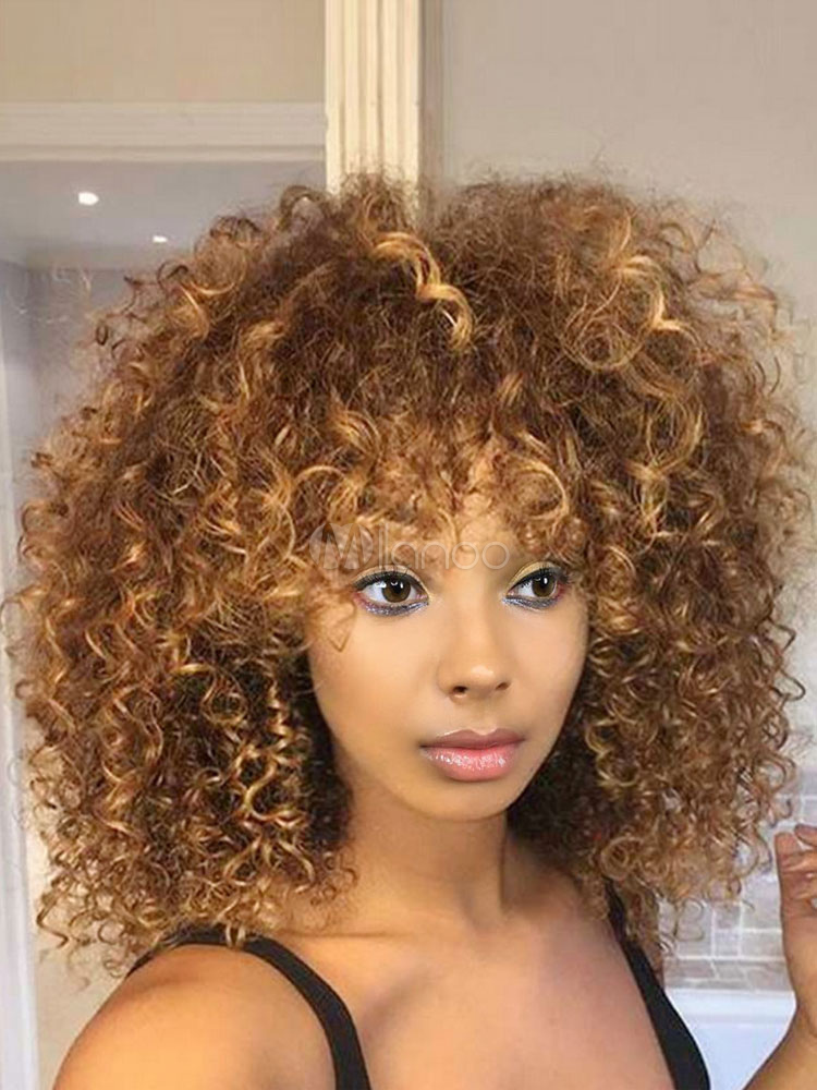 Curly Afro Wig Light Brown Tousled Shoulder Length Heat Resistant Fiber Wig-No.1  ... c7d96ebc2cc0