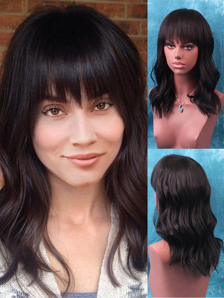 Human Hair Wig Body Wave Tousled Long Black Wig With Blunt Bang