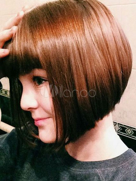 Human Hair Wig Bob Style Layered Blunt Bang Short Brown Wig For Women Cheap clothes, free shipping worldwide