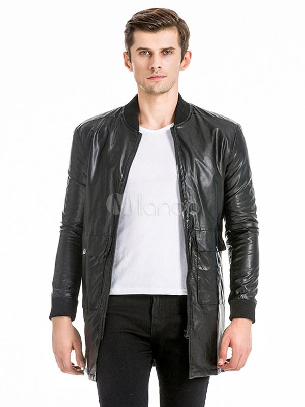 Buy Black Leather Jacket Stand Collar Long Sleeve Front Zip Men Jacket for $49.99 in Milanoo store