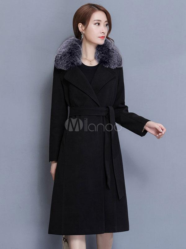 Buy Blue Winter Coat Long Sleeve Notch Collar Faux Fur Tweed Women's Coats for $68.99 in Milanoo store