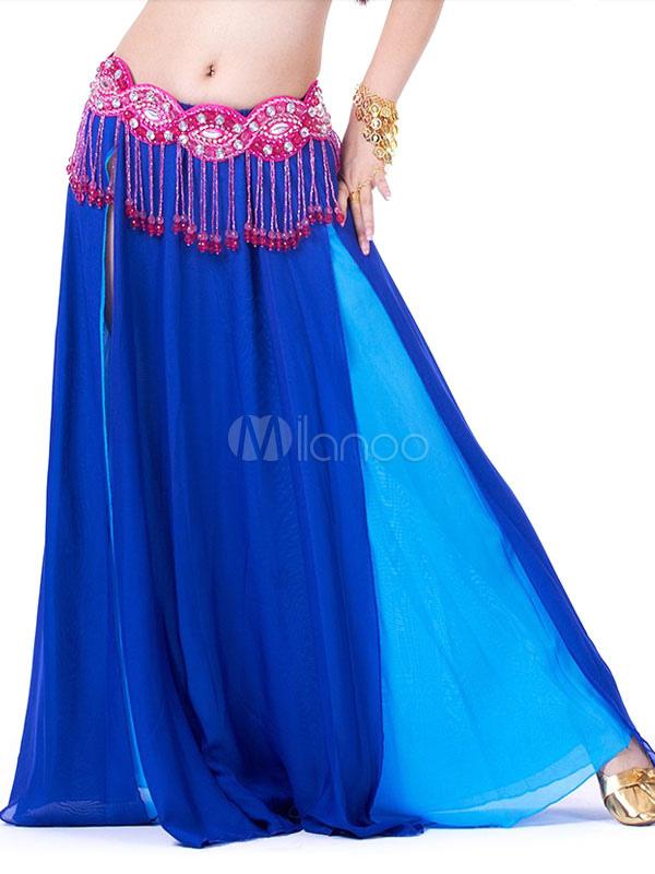 Belly Dance Costume Women Royal Blue Chiffon Two Tone Long Skirt