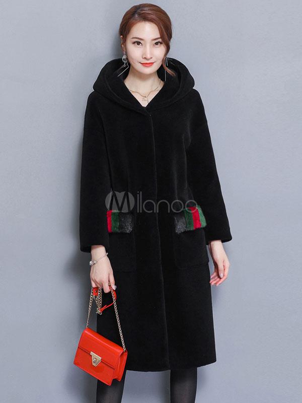 Buy Faux Fur Coat Black Hooded Long Sleeve Winter Coat For Women for $116.99 in Milanoo store