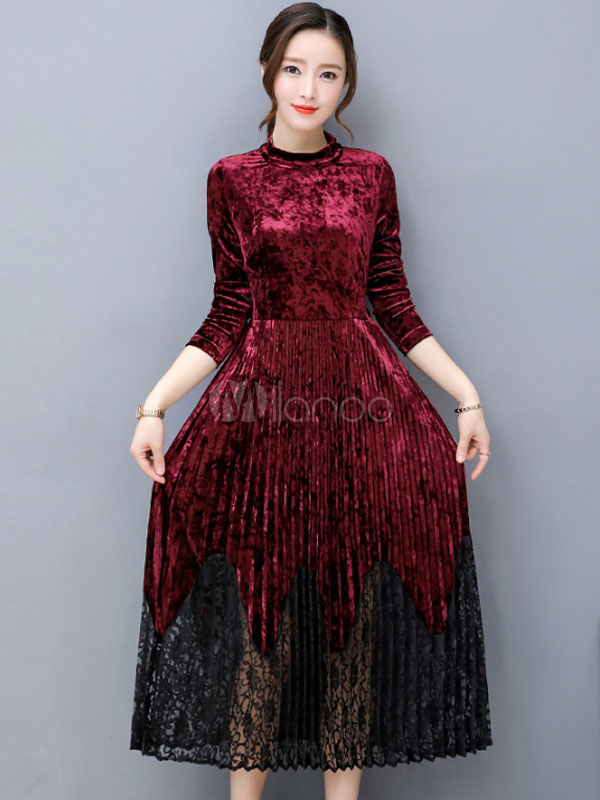 Buy Long Sleeve Dress Lace Velour Pleated Purple Women Spring Dress for $28.79 in Milanoo store