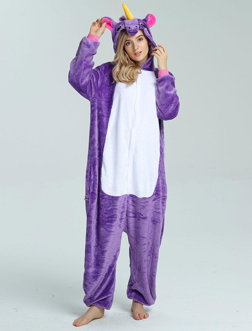 Buy Onesie Unicorn Kigurumi Pajamas Purple Flannel Unisex Jumpsuit Halloween for $15.99 in Milanoo store